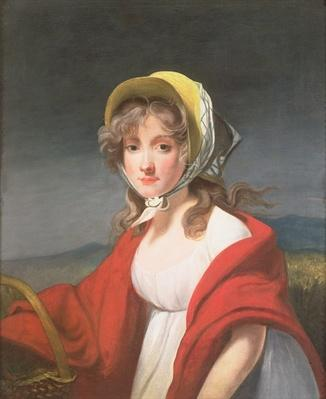 Portrait of a girl wearing a red shawl