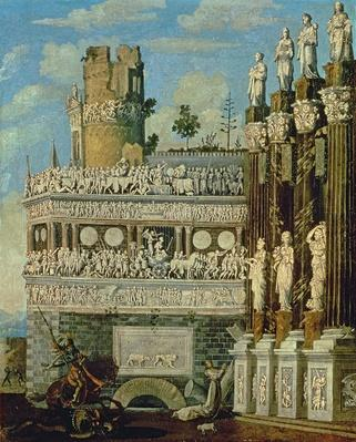 Fantastical Architecture with St. George and the Dragon, 1622