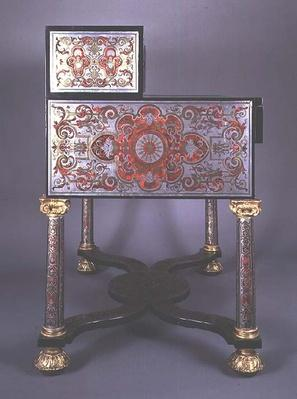 Writing Desk decorated with Boulle-style marquetry of brass inlaid with tortoiseshell, with gilt mounts