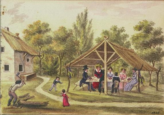 Afternoon tea at a tavern from the journal of Carl Baumann written 1813-25, 1822