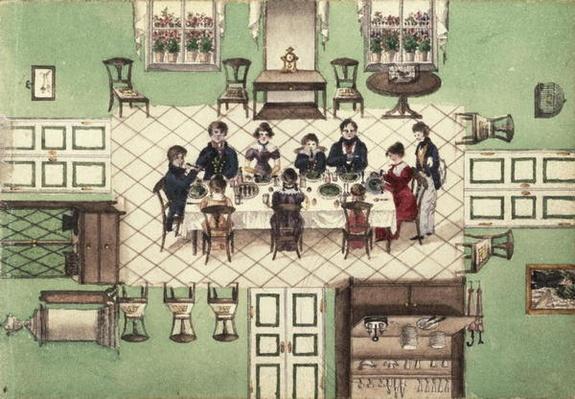 Family meal from a journal written by Carl Baumann, 1813-25