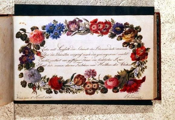 Frontispiece of a visitors' book decorated with an epigram in German surrounded by a garland of flowers, dated 1st April, 1813