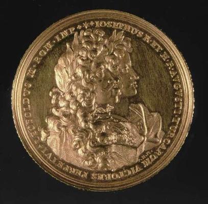 Medallion bearing portraits of Holy Roman Emperors Leopold I
