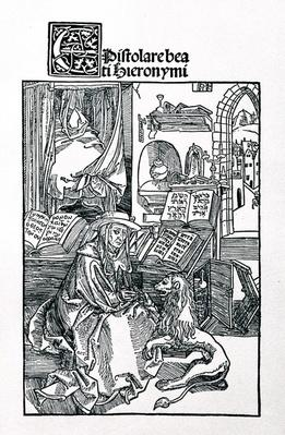St. Jerome in his study pulling a thorn from a lion's paw, frontispiece to a collection of St. Jerome's letters, pub. 1492