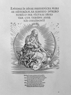 Madonna as nursing mother and divine being, title page to the series 'The Life of the Virgin', pub. 1511
