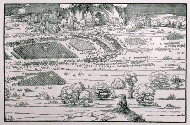 Demonstration of defensive measure to protect a city against a besieging army, right-hand detail of a plate from 'Teaching about the Fortification of Towns, Castles and Places', pub. 1527