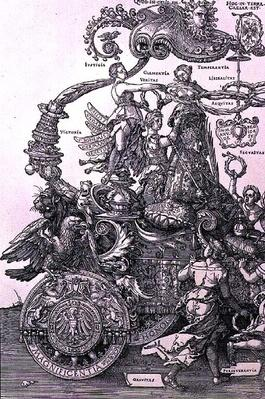 Design for 'The Great Triumphal Chariot of Emperor Maximilian I': detail showing the Virtues placing a wreath on the head of the Emperor, planned by Willibald Pirckheimer, pub. c.1518