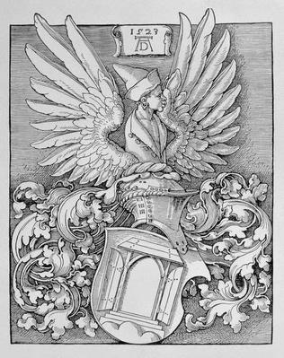 Coat of Arms of the Durer Family, with the artist's monogram and space for an inscription, 1523