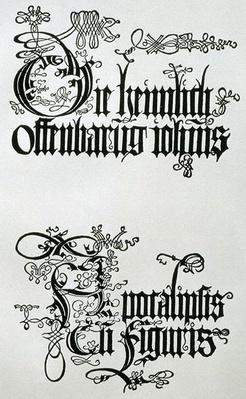 Inscriptions in Gothic script, the lower from the titlepage from 'Nine Sheets from the Apocalypse', pub. 1498