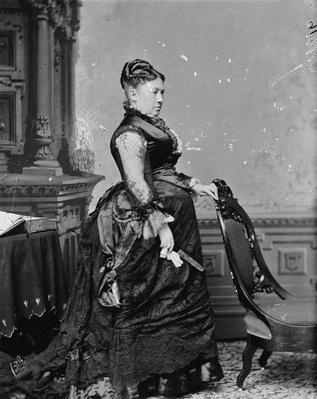 Mrs. U.S. Grant, 1870-80 (b/w photo) by American Photographer, (19th century)