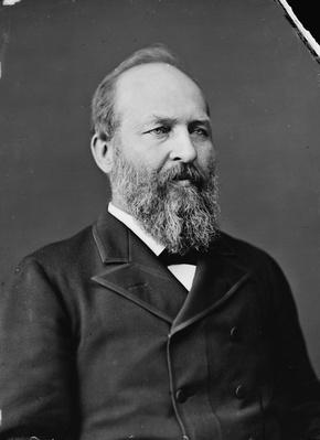 President James Garfield, 1870-80 (b/w photo) by American Photographer, (19th century)