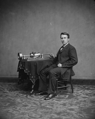 Thomas Edison, c.1877-78 (b/w photo) by American Photographer, (19th century)
