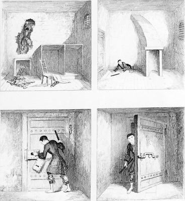 Escape No. 1, from 'Jack Sheppard' by W. H. Ainsworth, published 1839