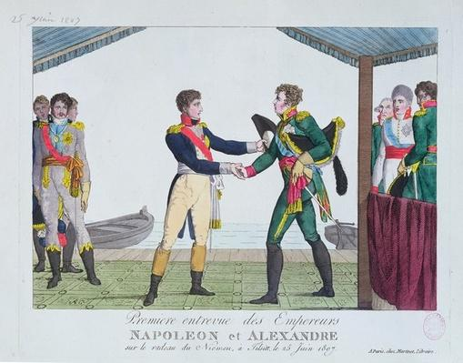 Meeting between Napoleon I and Alexander I, at Tilsit, 25 June, 1807