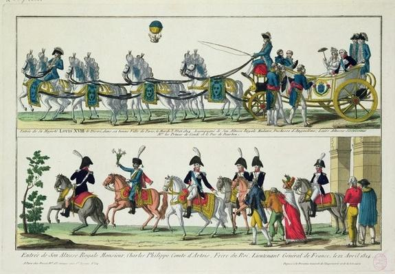 Entry to Paris of Charles, Count of Artois, 12 April 1814, and Entry to Paris of Louis XVIII, King of France and Navarre, 3 May 1814