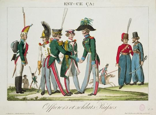 Russian officers and soldiers, 1815