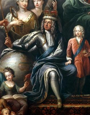 George I and his grandson, Prince Frederick, detail from the Painted Hall
