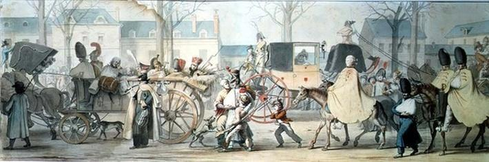 Wounded French Soldiers Entering Paris on the Boulevard Saint-Martin after the Battle of Montmirail, 17th February 1814