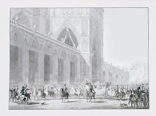 Arrival at Notre-Dame cathedral, Paris of Emperor Napoleon I and Empress Josephine for their coronation on 2 December, 1804, illustration from the 'Livre du Sacre', published in Paris, 1804-15