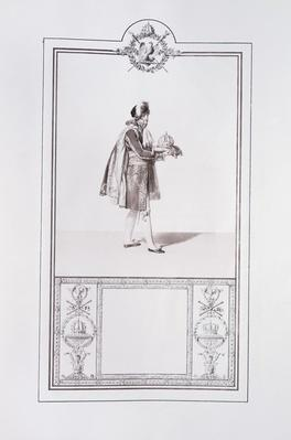 Costume of a French prince for the Coronation of Emperor Napoleon I and Empress Josephine in Paris on 2 December, 1804, illustration from the 'Livre du Sacre', published in Paris, 1804-15