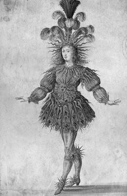 King Louis XIV of France in the costume of the Sun King in the ballet 'La Nuit', 1653
