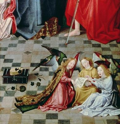 The Seven Joys of the Virgin Altarpiece: detail of three singing angels, c.1480