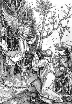 Joachim and the Angel from the 'Life of the Virgin' series, pub. 1511