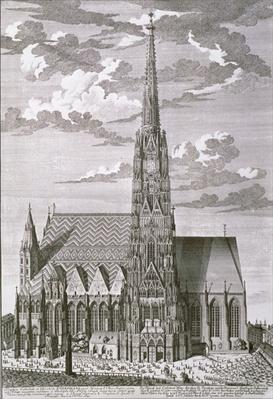 View of St. Stephan's Cathedral, Vienna engraved by George-Daniel Heumann