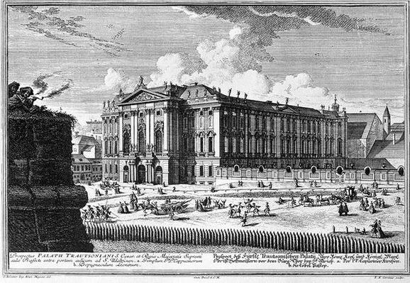 View of the Trautson Palace built for Count Johann Leopold Donat Trautson, designed by Johann Bernard Fischer von Erlach