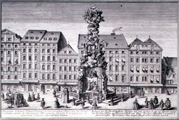 View of the Pestsaule, the Plague Column commissioned by Emperor Leopold I