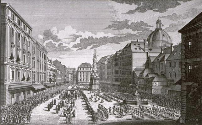 View of a procession in the Graben engraved by Georg-Daniel Heumann
