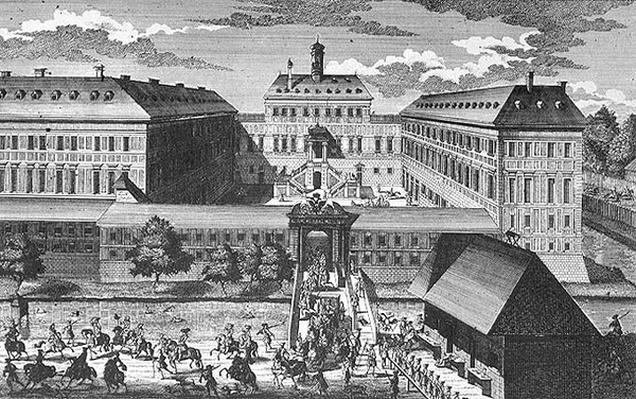 View of Schloss Ebersdorff near Vienna engraved by Georg-Daniel Heumann