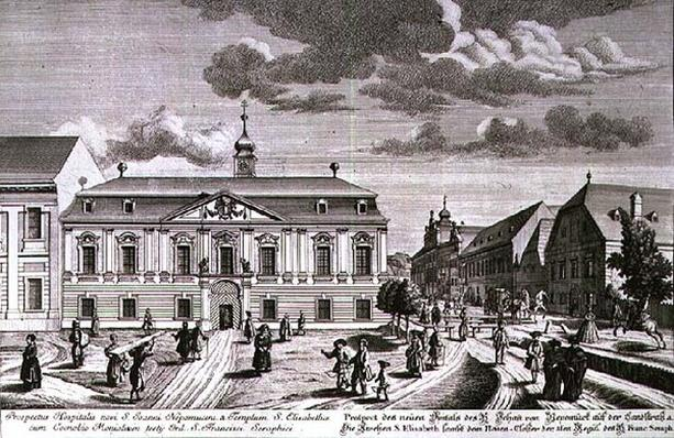 View of the new hospital of St. John Nepomuk, Vienna engraved by Karl Remshard