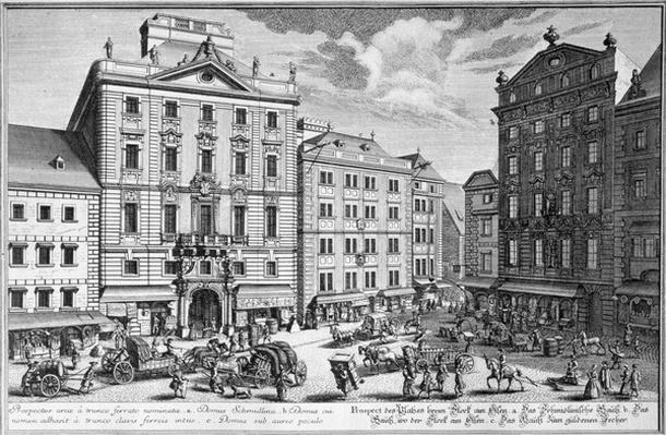 View of Stock-im-Eisen-Platz, Vienna engraved by Karl Remshard