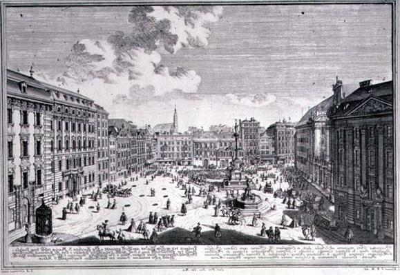 View of a square in Vienna engraved by Johann-August Corvinus