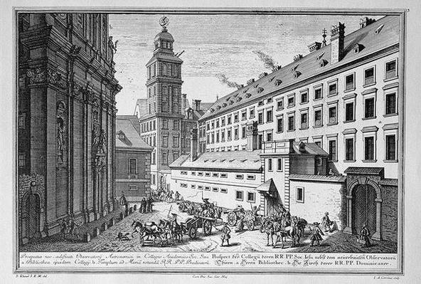 View of the new Observatory in the Jesuit College, Vienna showing also the library and the church of St. Maria Rotunda engraved by Johann-August Corvinus