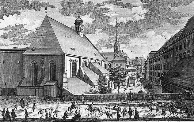 View of St. Jacob's Church, Vienna engraved by Georg-Daniel Heumann