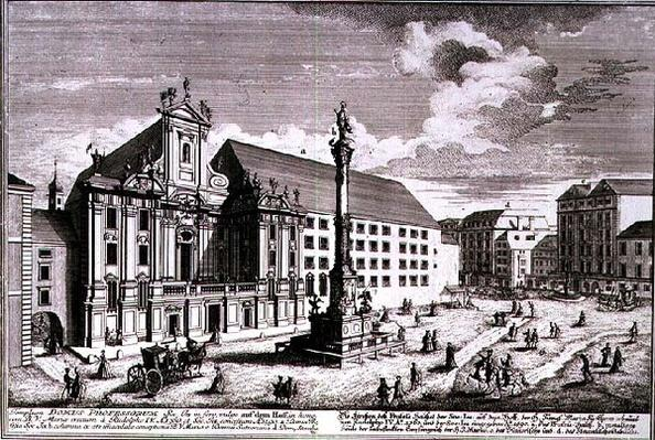 View of the Am Hof square showing the Mariensaule or Column of Our Lady engraved by Johann-August Corvinus