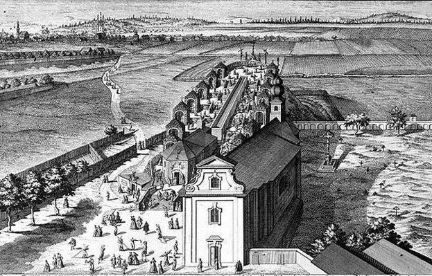 View of Calvary Hill near Vienna engraved by Georg-Daniel Heumann