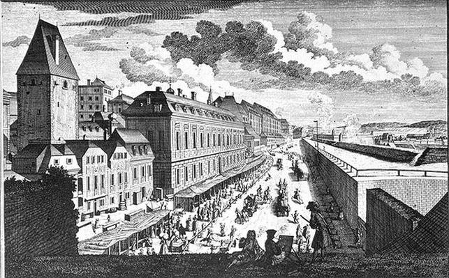 View of a street in Vienna engraved by Johann-August Corvinus