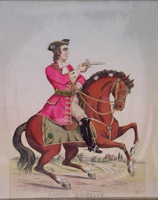 Captain MacHeath, the highwayman hero of 'The Beggar's Opera' by John Gay