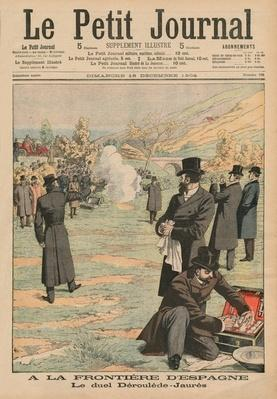 At the Spanish frontier, duel between Paul Deroulede and Jean Jaures, illustration from 'Le Petit Journal', Supplement illustre, 18th December 1904