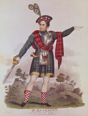 Mr. Macready in the role of Rob Roy Macgregor from a dramatisation of the novel 'Rob Roy' by Sir Walter Scott, pub. 1823