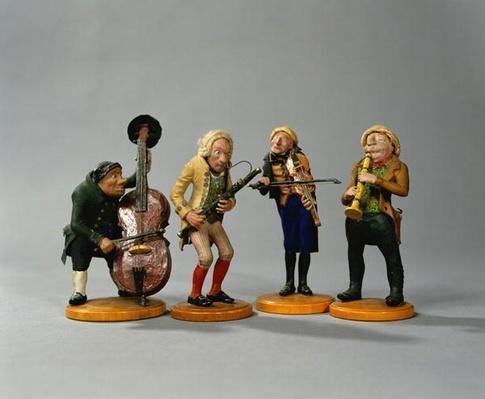 Caricature figurines of musicians, made in Nuremberg, 1836