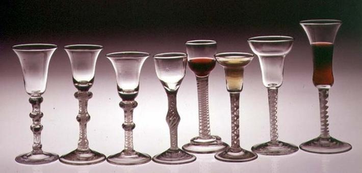 Wine glasses with opaque twist stems, 1760-65
