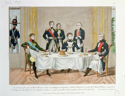 Dinner in Tilsit between Frederick William III of Prussia, Tsar Alexander I of Russia and Napoleon, who raises a toast to the Queen of Prussia, 3rd June 1807