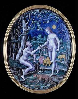 Limoges plaque depicting Adam and Eve, c.1570