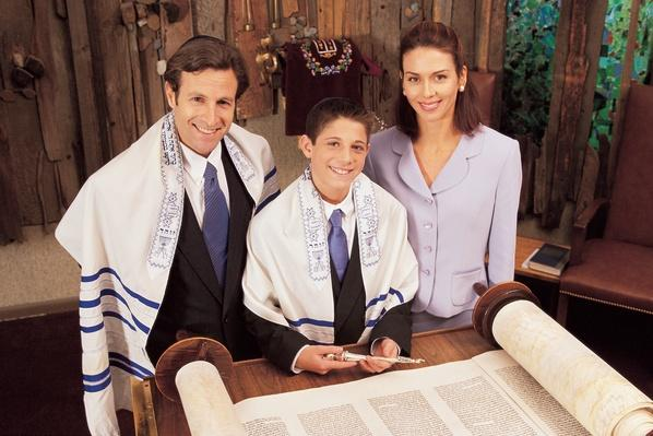 Parents with teenage son during his bar mitzvah | World Religions: Judaism