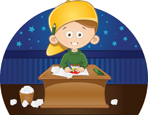 Cartoon Cute Little Boy Drawing A Picture in His Room | Clipart