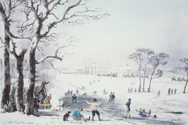 View of Buckingham House and St James Park in the Winter, pub. by R. Havell & Sons, 1810